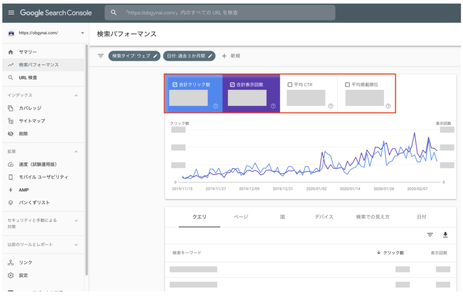 Google Search Console グーグルサーチコンソールの実際の管理画面