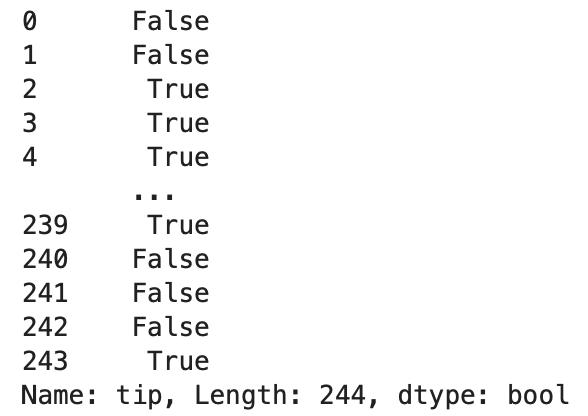 python pandas dataframe データ参照 tip 列が2以上という条件を作った表